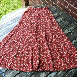 Vintage Express A line Midi Skirt with Buttons Red